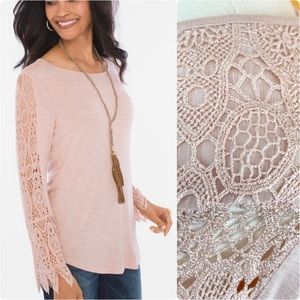 🆕🏷 Chico's Paris Pink Lace Detail Top